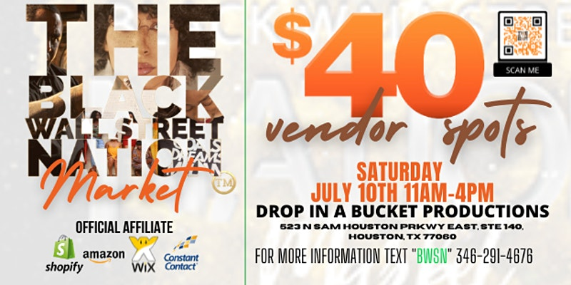 The Black Wall Street Nation Market - Vendor Branding Event Will Bring Profitability to your Business